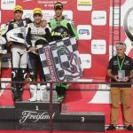 Miquel Pons , piloto del H43 TEAM TALASUR BLUMQ ha conseguido la victoria en la primera de las dos carreras programadas en el circuito de Albacete, Campeonato de España Super stock 600.